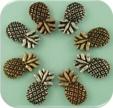 2 Hole Slider Beads Pineapples 3T Metal Silver Copper Gold TROPICAL Fruit QTY 8