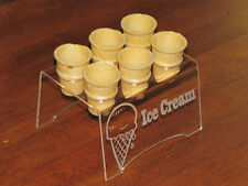 Engraved Acrylic Mini Kid 6 Ice Cream Cone Holder Tray Display Stand Wedding