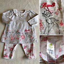 Baby Girls Clothes 0-3 Months - Disney Bambi Outfit  -  T Shirt Top  & Leggings