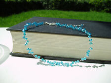 Floating Sky Blue Crystal Illusion Necklace- Bridal Blue Necklace Holiday Gift