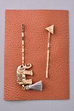 DESIGNER INSPIRED GOLD LOOK BOUTIQUE STYLE BOHO ELEPHANT TASSEL HAIR PIN SET
