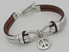 "7"" Gorgeous Painted Silver Infinity Peace Sign Leather Bracelet BEAUTIFUL"