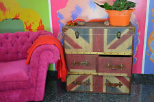KOMMODE ANRICHTE INDUSTRIAL UNION JACK SIDEBOARD KIEFER HOLZ METAL
