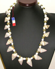BIJOU ANCIEN COLLIER DE LUXE COUTURE COQUILLAGES & CERAMIQUE VINTAGE NECKLACE