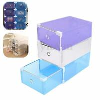 Plastic Shoe Storage Drawer Case Box Stackable Foldable Home Wardrobe Organizer