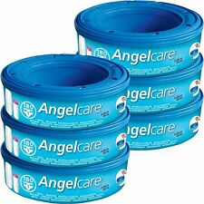 6 x Angelcare Nappy Disposal System Refill Cassettes Wrappers Bags Sacks Pack