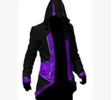 Black purple 3XL Stylish Creed Hoodie Mens Cosplay Assassins Jacket Coat Costume