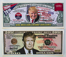 Set of 2 diff. USA Donald Trump fantasy paper money for President 2016
