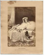 GOOD MORNING Antique 1874 Engraving Print N. Monroe Philadelphia Girl Doll Dog