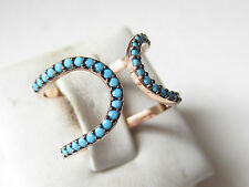 Unique Rose Gold Plated Over 925 Sterling Silver Turkish Turquoise Ring Sz 7.5