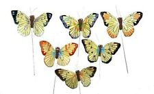 24 Pc Artificial Yellow Feather Butterfly Floral Wedding Butterflies BF747 X 24
