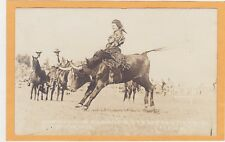 Real Photo Postcard RPPC - Rodeo Cowgirl Mildred Douglas on Steer Cheyenne WY