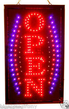 "NEW BRIGHT VERTICAL Animated Business LED OPEN Sign w.  Switch 19"" x 10'"