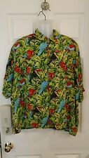 Large Green Shiva Men's Hawaiian Shirt Tropical Blue And Red Birds