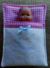 "5"" baby Berenguer doll's Sleeping bag, pram cot bedding  by Lesley Shaw NEW"