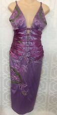 Mandalay Dress Purple With Sequins Embroidered Stretchy Size 8 Corset Style