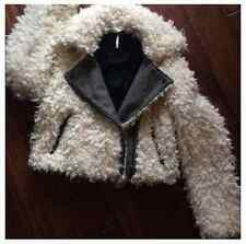 FREE PEOPLE Fur Shearling Motorcycle Jacket Biker Sherpa Coat White Black $248