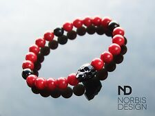 Men's Red Coral/Onyx Skull Bracelet with Swarovski Crystal 7'' Elasticated