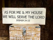 """Large Rustic Wood Sign - """"As For Me & My House We Will Serve The Lord Joshua"""