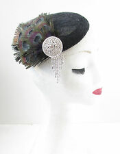 Black Peacock Feather Lace Fascinator Headpiece Hat Vintage 1920s 40s Silver V85