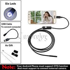 5.5mm Lens 6LED Android Phone Endoscope IP67 USB Borescope Tube Camera Snake 1M