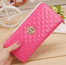 Women's Quilted Leather Wallets Card Holder Zipper Long Clutch Handbag Purse New