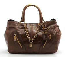 Prada Brown Leather & Gold Chain Large Tote Bag
