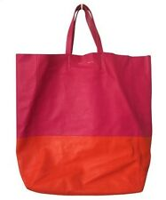 Celine Bicolor Cabas Tote Pink & Orange Lambskin 100% Authentic with Dustbag