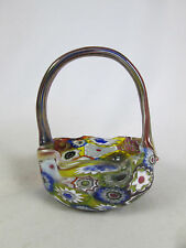 Vintage Murano Italian Glass Millefiori Miniature Basket w/ Handle Fratelli Toso