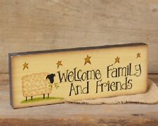 Country Message Block Sign 'Welcome Family & Friends' Sheep Stars for Shelf NEW