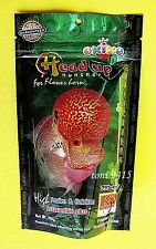 FLOWERHORN HEAD UP BEST OKIKO HUNCHER FISH PLATINUM QUICK GREEN FISH FOOD 100g