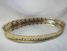 Vintage Antique Brass Ornate Oval Gold Filigree Vanity Mirror Footed Tray Decor