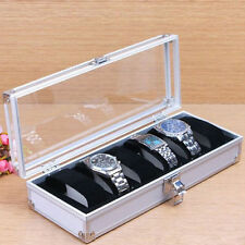 6Grid Aluminum Jewelry Watch Display Window Case Box Storage Holder Organizer EM