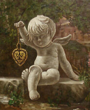 """Oil Painting of Angel Holding Heart Shaped Necklace Sculpture in Garden 20x24"""""""