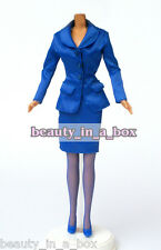 Royal Blue Business Suit Jacket Skirt Shoes Fashion for Barbie Doll