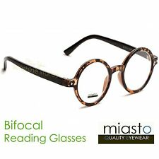 "MIASTO ROUND ""LENNON/ POTTER"" SMALL READER READING GLASSES+2.50 BIFOCAL TORTOISE"