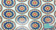Vinyl Placemats Set of 4 Fresh Blue Red Floral Tile Medallions 13x18 inch New