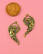 ANTIQUE BRASS FLYING ANGEL PAIR CHARM - 2 PCS