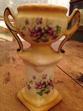 Antique Vintage Pansy Czech Vase