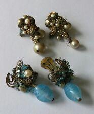 2 Pairs of Vintage Miriam Haskell Earrings for Parts Repair