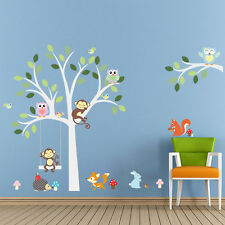 Monkey Owl Animals Tree Removable Wall Stickers Kids Room Home Decor Decals DIY