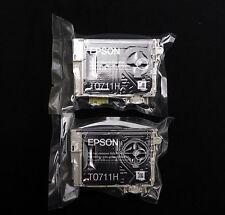 Genuine Epson T0711H X 2 Cartuchos de Tinta Negra Original De Alta Capacidad