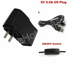 US Power Supply adapter with ON/OFF switch Cable 5V 2.5A For Raspberry Pi 3
