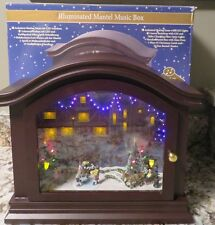MR. CHRISTMAS Animated Skating Illuminated Mantel Music Box 70 Songs New in Box