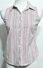 Ann Taylor Ladies Black and Pink Stripe Sleevess Button Front Petites Shirt - 4P