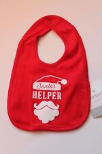 Carter's Santa's Helper Red Christmas Baby Bib Holiday One Size Feeding Bib NEW