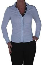 Womens Plain Ruched Long Sleeve Collared Skinny Fit Office Work Blouse Shirt