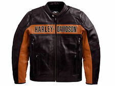 Harley Davidson Mens Black Orange Classic Riding Leather Jacket M 98014-10VM New