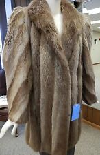 "Natural Blond Long Hair Beaver Fur ¾ 34"" Coat, size 12"