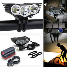 10000LM SolarStorm 3xT6 LED Bicycle Bike Light Cycling Torch Headlight+Taillight